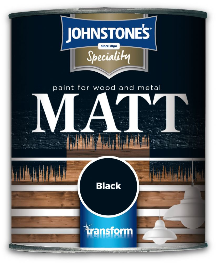 Johnstones Speciality Paint for Wood and Metal Black Matt 750ml